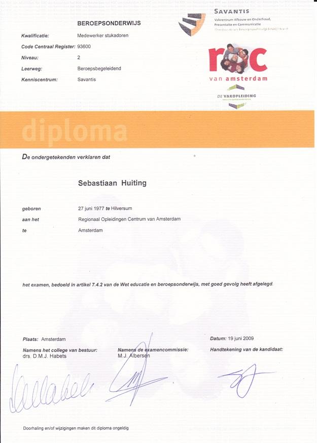 1. diploma stukadoor niveau2 a